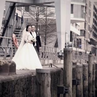 Schönes Hochzeitsfoto in der Hafencity