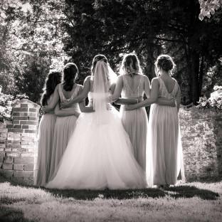 Brautjungfern von hinten im Gegenlicht