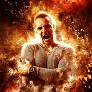 Mann in Flammen. Feuerfotoshooting mit Chris Reiner