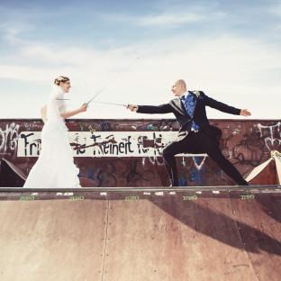 Brautpaar am kämpfen